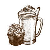 Vector illustration with coffee mug and berry muffin Royalty Free Stock Image
