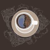 Vector illustration, coffee mug, on a plate. White smoke on a dark gray background Stock Photos