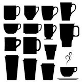 Vector illustration of coffee mugs and cups. A set of vector silhouettes of coffee and beverage mugs and cups Royalty Free Stock Photography