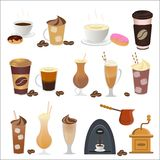 Vector illustration of coffee set icons in flat style. Vector illustration of coffee set icons in flat style royalty free illustration