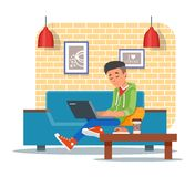 Vector illustration of coffee shop design element, visitor with laptop Royalty Free Stock Photos