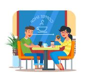 Vector illustration of coffee shop design element with visitors Stock Image