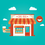 Vector illustration of coffee shop. Modern  illustration of coffee shop Royalty Free Stock Photos