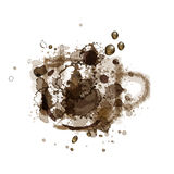 Vector Illustration Coffee Stain in shape of cup with coffee drops Stock Photo