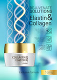 Vector Illustration with Collagen and Elastin cream. Collagen solution intensive cream ads. Vector Illustration with Collagen and Elastin cream container Stock Photography