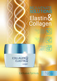 Vector Illustration with Collagen and Elastin cream Royalty Free Stock Photo