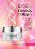 Vector Illustration with Collagen and Elastin cream Royalty Free Stock Photography