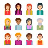 Pixel art style cartoon faces. Vector set. Vector illustration. Collection of cute simple colorful pixel art avatars on a white background Stock Illustration