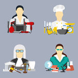 Vector illustration of collection icons of color professions equipment vector illustration Royalty Free Stock Image