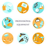 Vector illustration of collection icons of color professions equipment vector illustration Royalty Free Stock Photos