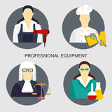 Vector illustration of collection icons of color professions equipment vector illustration. Vector set of collection icons of color professions equipment vector Royalty Free Stock Photos