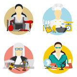 Vector illustration of collection icons of color professions equipment vector illustration. Vector set of collection icons of color professions equipment vector Royalty Free Stock Photography