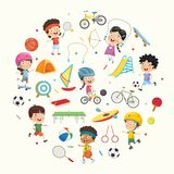Vector Illustration Collection of Kids and Sport Equipments. Eps 10 royalty free illustration