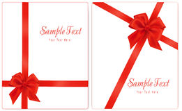 Vector illustration. Collection of red gift bows w Stock Photo