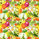 Vegetables seamless pattern. Vector illustration of a collection of ripe vegetables herbs and fruits seamless pattern, wallpaper, repetition Stock Photos
