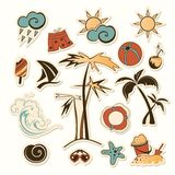 Vector illustration of collection of sea beach Stock Photography