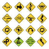 Traffic Warning Signs in the United States. Vector Illustration collection of the select Traffic Signs in the United States, isolated on white background. You Royalty Free Stock Images
