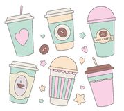 Vector illustration collection set with different cute pastel colored cartoon paper cups for coffee, chocolate or other hot bevera stock illustration