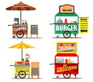 Food Street Vendors. Vector illustration collection set of food street vendors Royalty Free Stock Photography