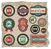 Collection of vintage retro grunge sale labels, ba Royalty Free Stock Photo