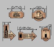 Wood Bar Signage. Vector illustration collection of wood beer bar signage Royalty Free Stock Photo