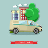 Vector illustration of collector and bank car, flat style design Royalty Free Stock Photos