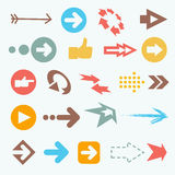 Vector illustration of color arrow icons. Big collection Stock Photos