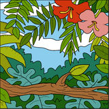 Vector illustration, color background, tropical forest Stock Photo