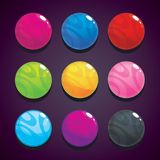 Color bubbles, balls set on the dark background for game design. Stock Photography