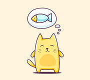 Vector illustration of color character cat with bubble on yellow Royalty Free Stock Images
