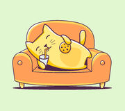 Vector illustration of color character cat lying on the sofa wit Stock Image