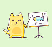 Vector illustration of color character cat with pointer on green Stock Images
