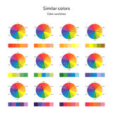 Vector illustration of color circle, analogous color, similar co Stock Images