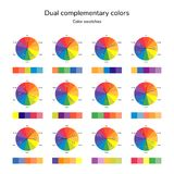 Vector illustration of color circle, infographics, palette, dual. Complementary color, split complementary color, swatches stock illustration