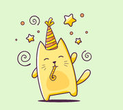 Vector illustration of color happy character cat with hat and bl Stock Photography