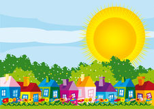 Vector illustration color houses by day in spring Stock Images