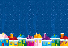 Vector illustration color houses in winter Royalty Free Stock Photography
