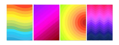 Vector illustration in color minimal style, covers design. Cool halftone, bright gradients with lines, circles. Future royalty free illustration