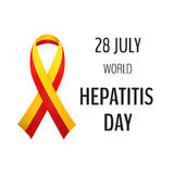 Vector illustration with 2 color ribbon on light background. 28 July World Hepatitis Day stock illustration