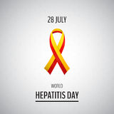 Vector illustration with 2 color ribbon on light background. 28 July World Hepatitis Day vector illustration