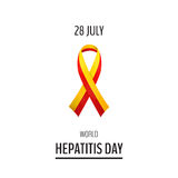 Vector illustration with 2 color ribbon on light background. 28. July World Hepatitis Day royalty free illustration