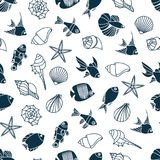 Vector illustration of seamless pattern of seashells and fish. Vector illustration of color seamless pattern of seashells and fish Royalty Free Stock Images