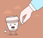 Vector illustration of color smile takeaway coffee cup and human. Hand on brown background. Creative cartoon coffee concept. Doodle style. Thin line art flat royalty free illustration