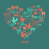 Vector illustration of color symbols of Valentines day Stock Photos