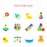 Vector illustration of color toys for kids Royalty Free Stock Photos