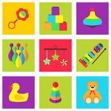 Vector illustration of color toys for kids Royalty Free Stock Images