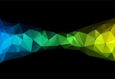 Vector illustration of color triangle geometric backround. Vector illustration of color triangle geometric pattern with lines and dots on black backround Stock Photography