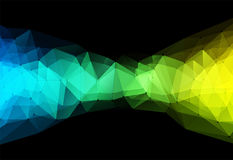Vector illustration of color triangle geometric backround. Vector illustration of color triangle geometric pattern with lines and dots on black backround Stock Photos