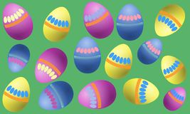 Vector illustration of colored eggs with a simple pattern on a light green background.  Royalty Free Stock Photos