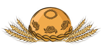 Vector illustration of colored hand drawing round bread and ears Royalty Free Stock Image